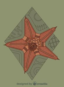 Steampunk Starfish vector