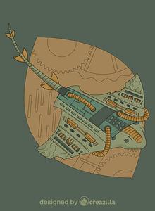 Steampunk Stingray vector