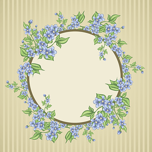 Floral Card with a Circle Frame Background vector