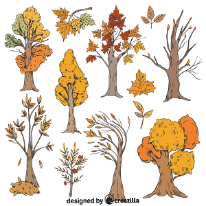Set of fall trees vector