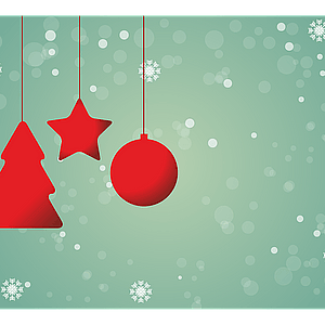 Christmas Background with Hanging Star Ball and Tree vector