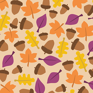 Acorn and Autumn Leaves Background vector