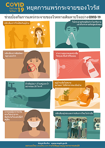 โปสเตอร์การป้องกันไวรัสโคโรน่า COVID-19 (Thai) ベクターイメージ狐