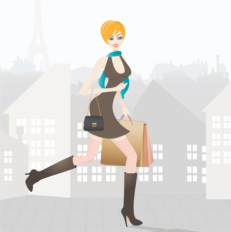 Girl Shopping in Paris vector