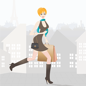 Girl Shopping in Paris vector