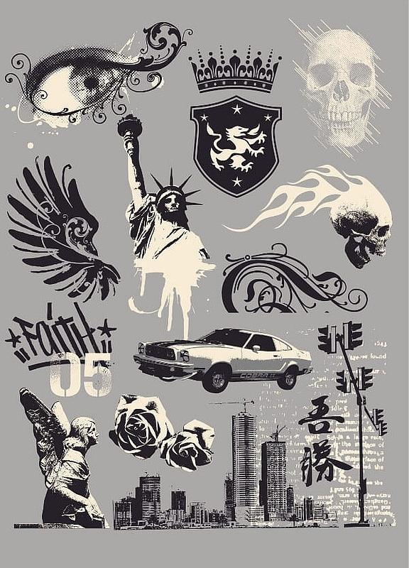 Vetor de Conjunto de desenhos de t-shirt