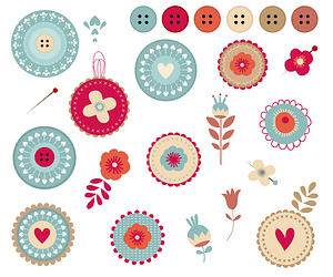 Floral Lace Tags and Budges with Buttons Set vector