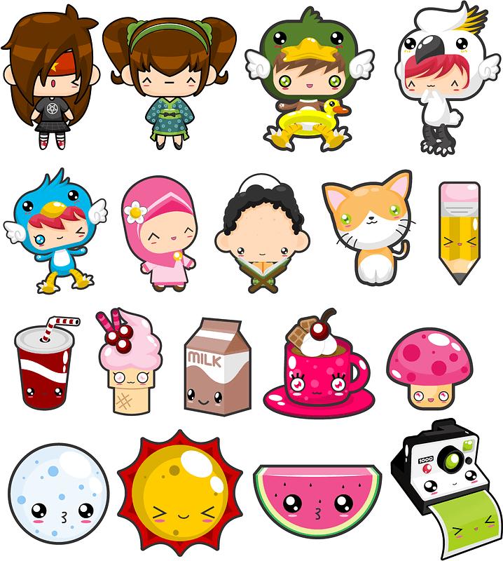 Set of Kawaii Stickers vector