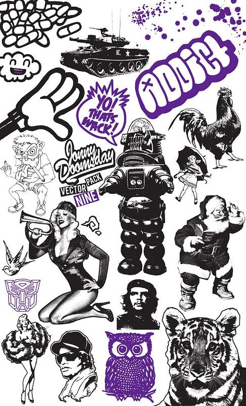 Set 9 van vintage grunge-elementen voor t-shirt ontwerpen vector