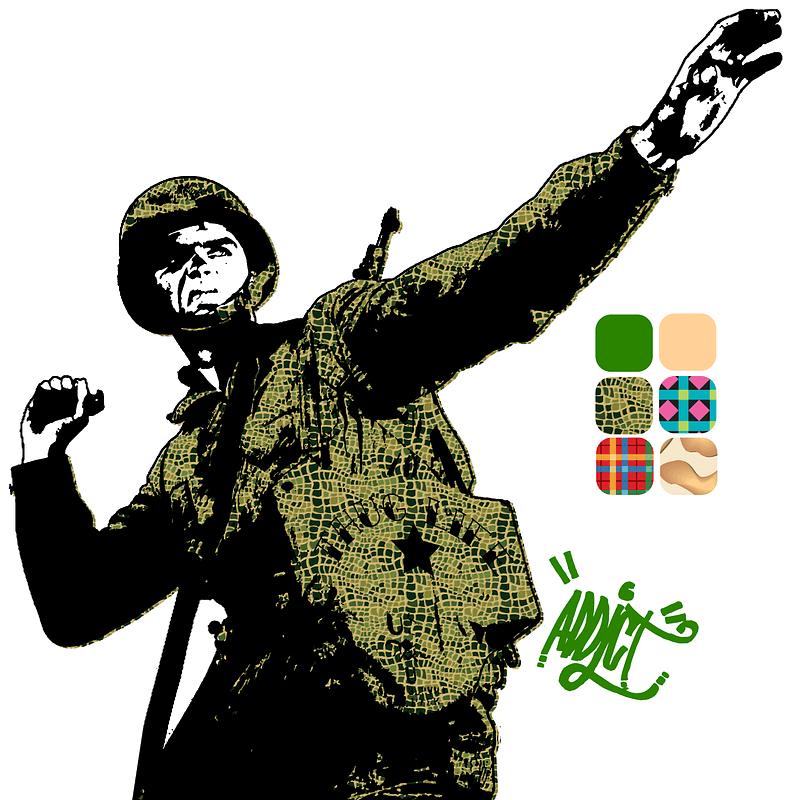 """Векторное изображение: Плакат """"Солдат бросает гранату"""""""