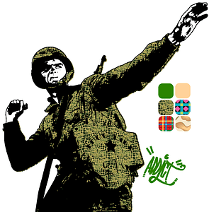 Soldier Throwing a Grenade Poster vector