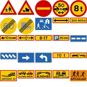 151 Road Signs of Iceland vector