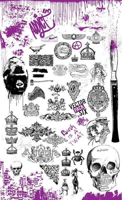 Set 6 Vintage Grunge-elementen voor T-shirtontwerpen vector