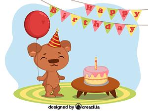 Birthday bear vektori