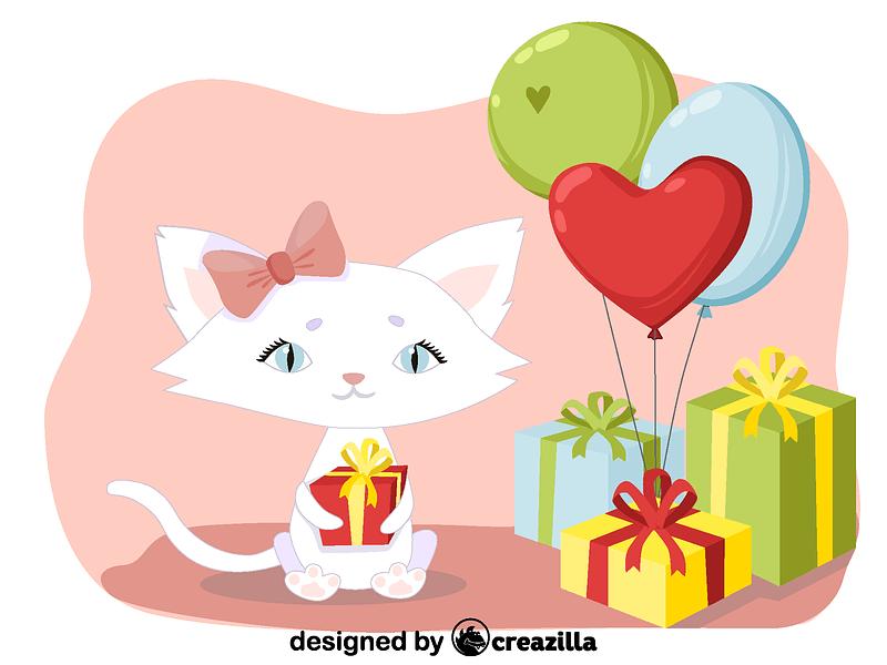 Birthday kitty vector