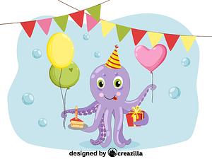 Birthday octopus vektori