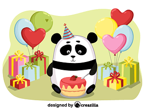 Birthday panda vector