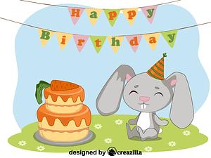 Birthday rabbit vektori