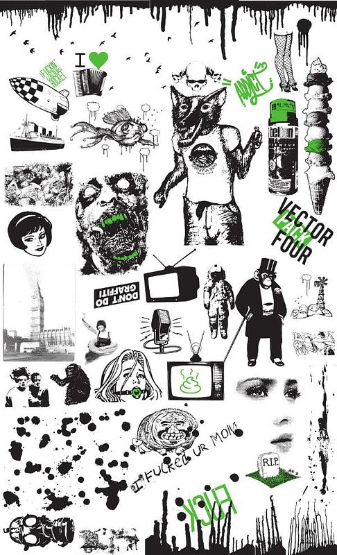 Set 4 Vintage en Grunge elementen voor T-shirt ontwerpen vector
