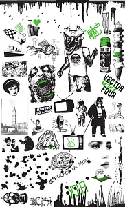 Set 4 of Vintage and Grunge Elements for T-Shirt Designs vector