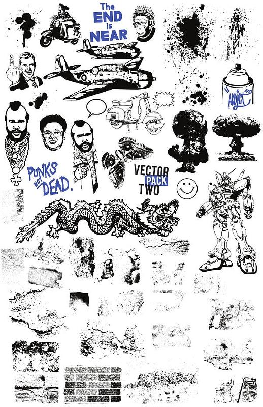 Vetor de Conjunto 2 de elementos Grunge Vintage para desenhos de t-shirt