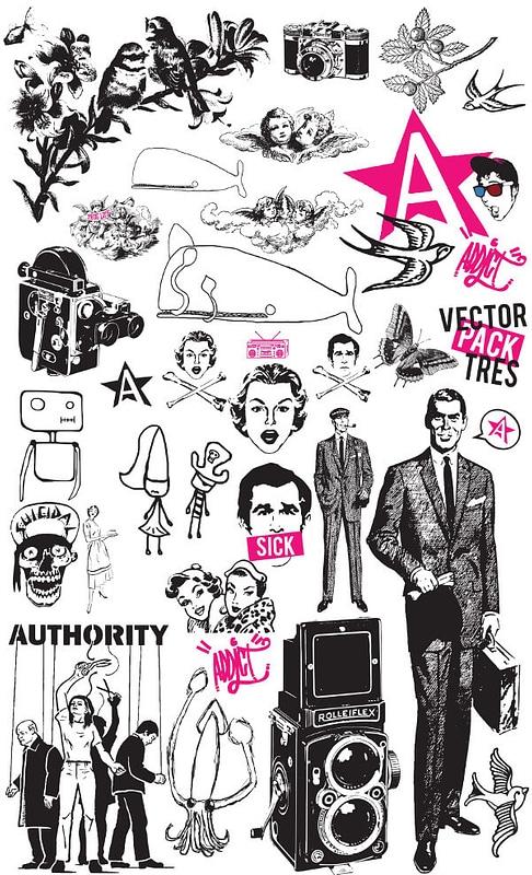 Set 3 von Vintage Grunge-Elementen für T-Shirt Designs vektor