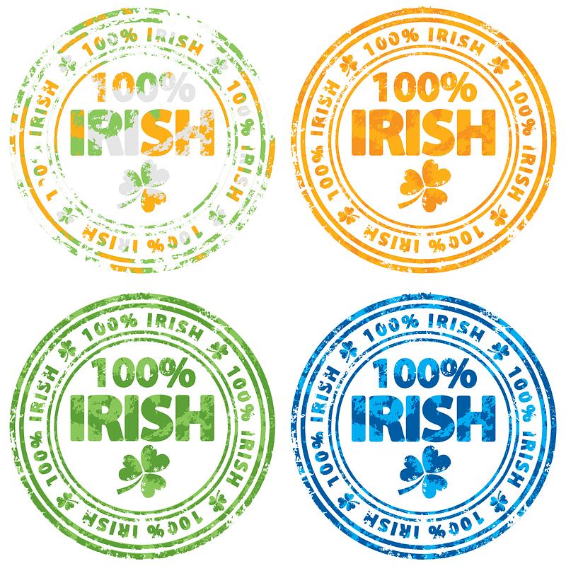 Set van 100% Ierse stempels vector