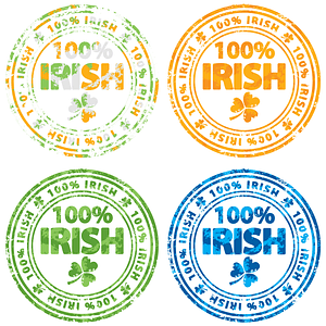 Set of 100% Irish Stamps vector