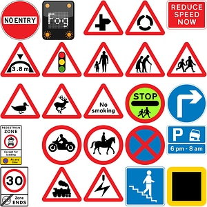 159 Road Signs of the United Kingdom vector