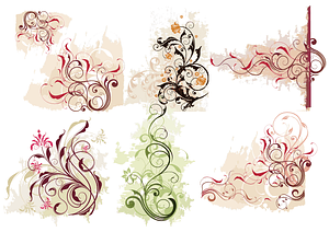 Set of Swirl Flowers vector