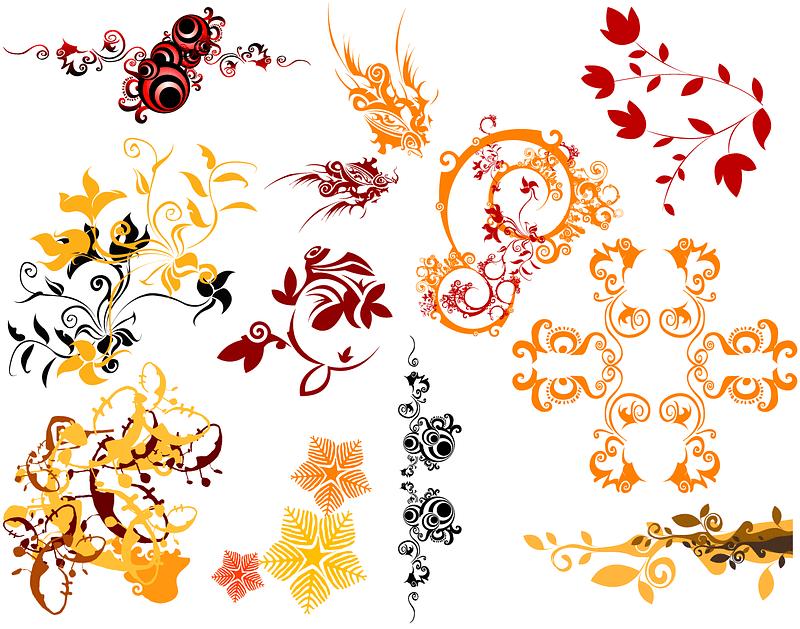 Set of Decorative Swirl Flower Patterns vector