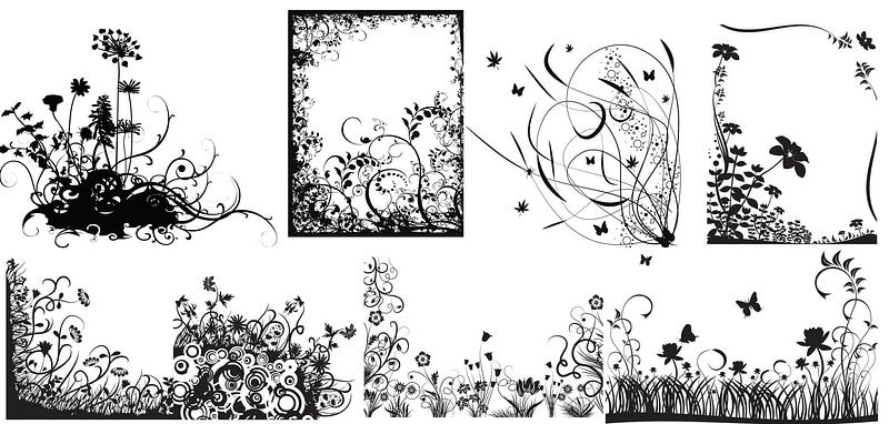 Set of Black and White Swirl Flowers vector
