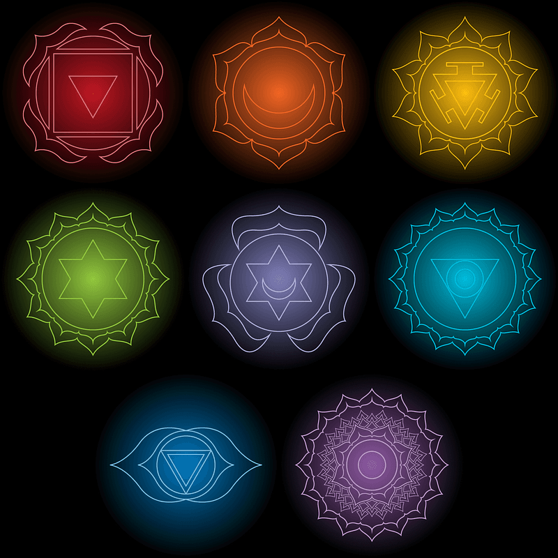 Set of Chakra Symbol Designs for Black T-Shirts vector