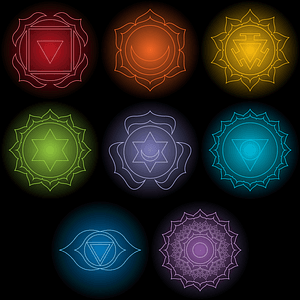 Set of Chakra Symbol Designs for Black T-Shirts vector