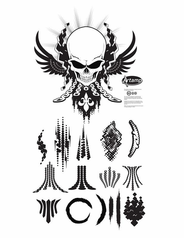Vetor de Design de camiseta de caveira com elementos decorativos