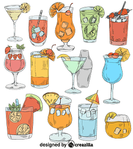Set of cocktail vector