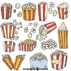 Set of popcorn vector