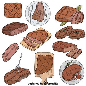 Set of steak vector