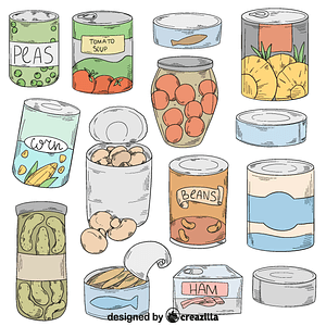 Set of canned food vector