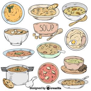 Set of soup vector