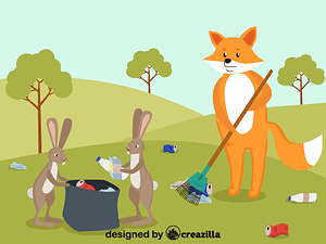 Fox cleaning up vector