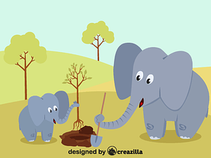 Elephants planting a tree vector