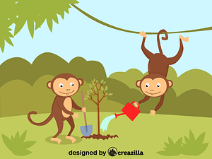 Monkeys planting a tree vector