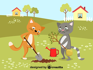 Cats planting a tree vector