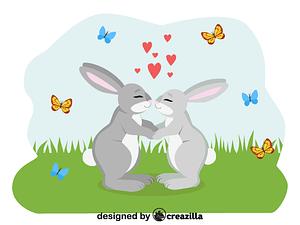 Animals in love - rabbits vector