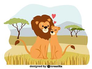 Animals in love - lions vector