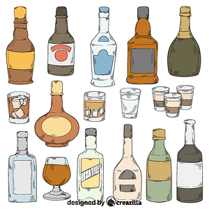 Set of alcohol vector