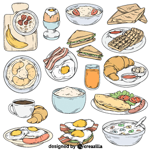 Set of breakfast vector