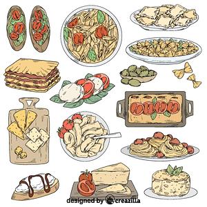 Set of italian food vector