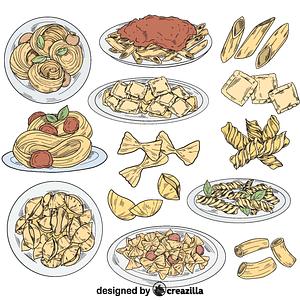 Set of pasta vector